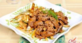 Приготовление бефстроганов из мяса свинины