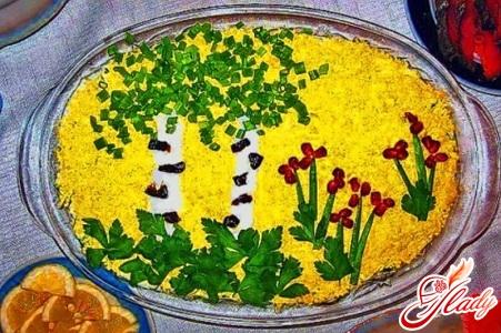 салат белая берёза рецепт с черносливом