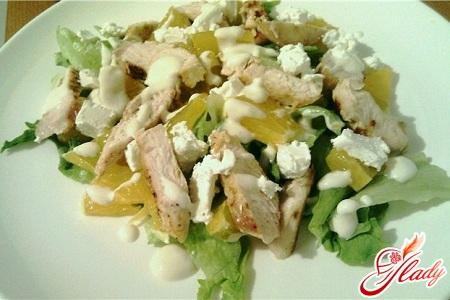 салат из курицы и апельсина