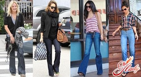 джинсы клеш от колена