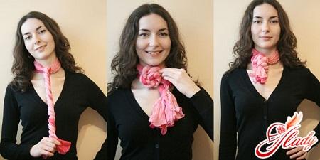 как носить шарф - узел жгут