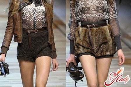 модели зимних вязаных и меховых женских шорт
