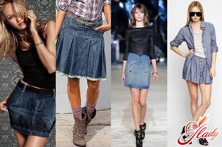 модные юбки джинсовые короткие