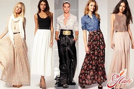 Модные женские длинные юбки