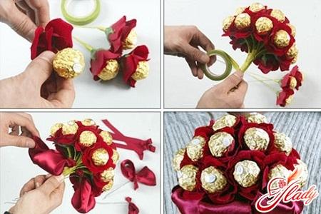 Как сделать своими руками цветы из конфет