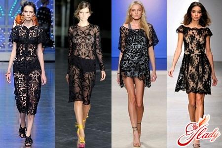 черное кружевное платье мода 2012