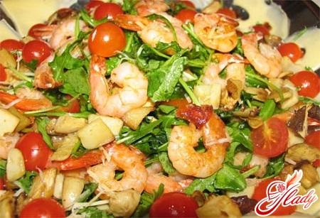 рецепты салатов с овощами и креветками