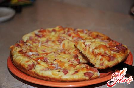 приготовление пиццы на сковороде