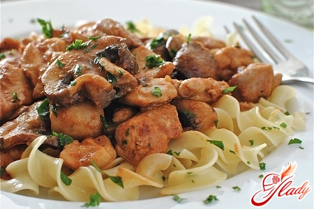 Спагетти с филе курицы