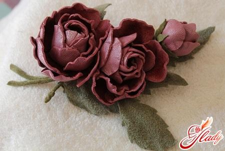 цветок из кожи своими руками