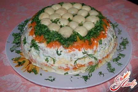 салат поляна с корейской морковкой рецепт с фото