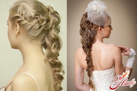 свадебные прически косы с цветами