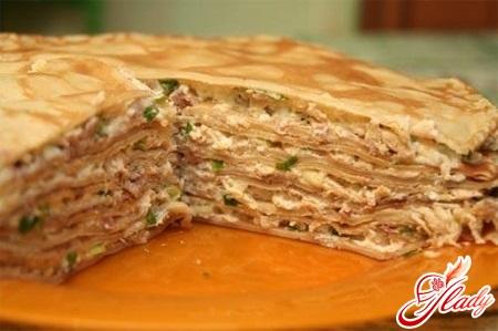 блинный пирог с мясом рецепт с фото