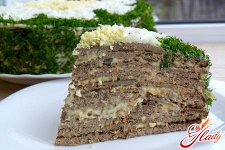 вкусный печеночный торт из свиной печени