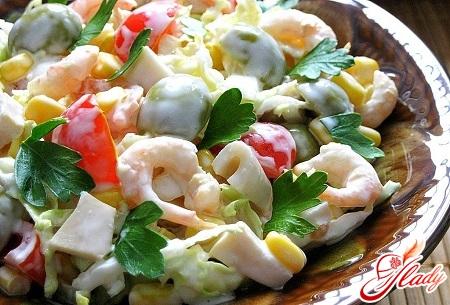 салат из кальмар креветок мидии рецепт с фото