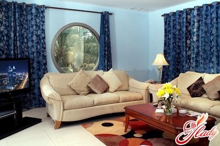 красивое сочетание цветов в интерьере гостиной