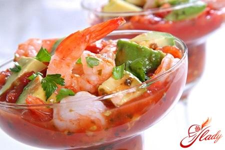 легкий вкусный салат с креветками