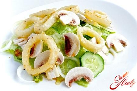 быстрый салат из кальмаров с сыром