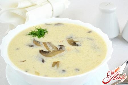 сырный суп пюре с шампиньонами
