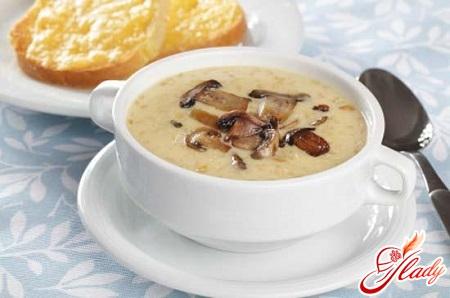 рецепт сырного супа с шампиньонами