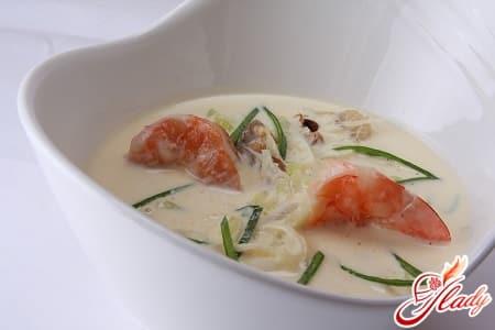 легкий суп крем с морепродуктами