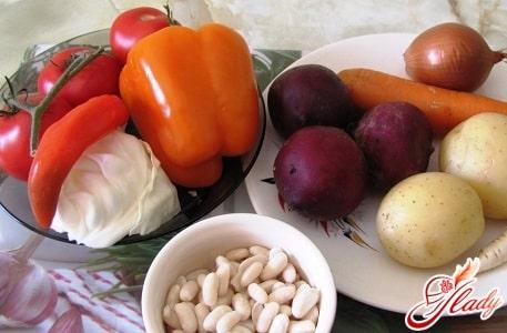 ингредиенты для борща с фасолью