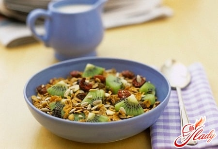 фруктовый завтрак с хлопьями