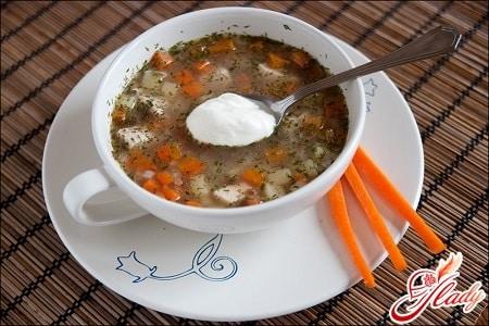 гречневый суп с овощами и сметаной