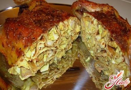 рецепты фаршированной курицы с блинами