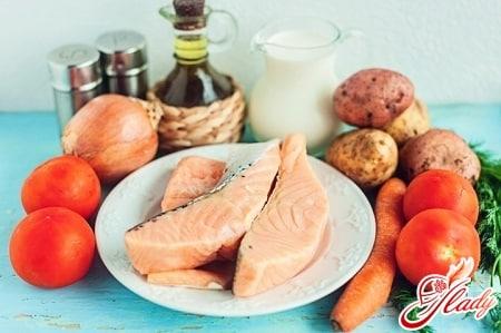 ингредиенты рыбного супа с семгой