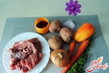 ингредиенты для супа с говядиной
