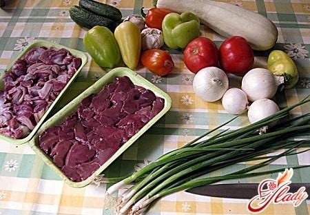 ингредиенты для приготовления супа с куриными сердечками
