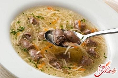 вкусный суп из куриных сердечек