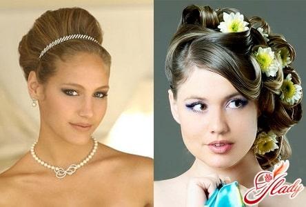 свадебные прически для волос средней длины с аксессуарами