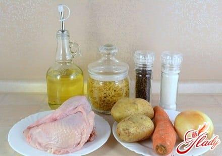 ингредиенты для куриного супа с вермишелью