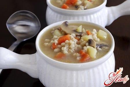 простой рецепт грибного супа с перловкой