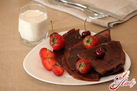 Рецепты приготовления шоколадных блинов
