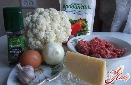 ингредиенты для приготовления цветной капусты с фаршем