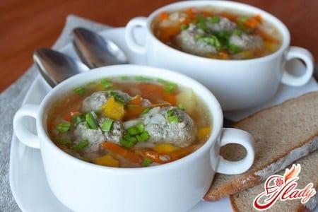 рецепты супа с фрикадельками из мяса птицы