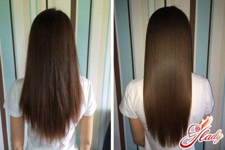 Сравнение волос до и после глазирования
